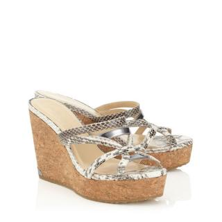 Jimmy Choo 100m snakeskin cork wedges