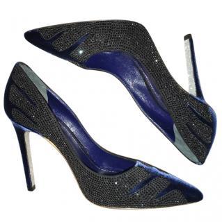 Rene Caovilla Royal Blue Velvet Heels with Crystals
