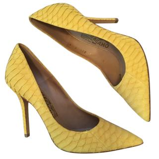 Salvatore Ferragamo Yellow Python Heels