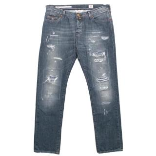 Jacob Cohen PRMJ Blue Distressed Ripped Denim Jeans