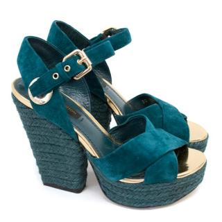 Louis Vuitton Blue Wedge Sandal Heels