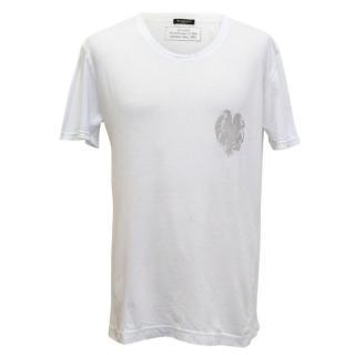 Balmain White T-Shirt with Grey Printed Logo