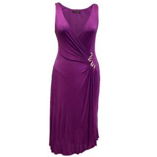 Purple V Neck Wrap Dress with Gold Tone Snake Detail