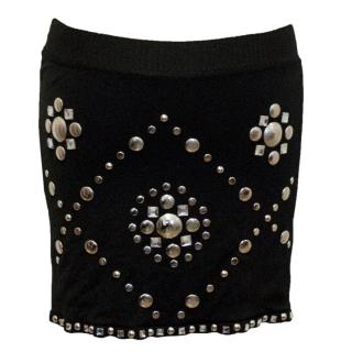 Blumarine Black Mini Skirt with Silver Studs