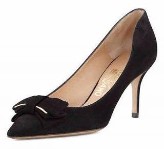 Salvatore Ferragamo Runa Women's Black Gold Suede Mid Heels Size 9C
