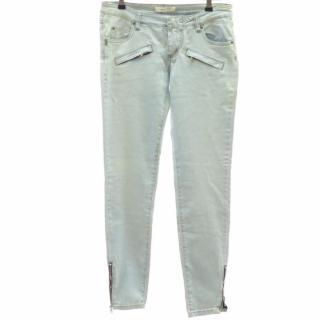 PIERRE BALMAIN Light-Blue Denim Skinny Jeans Zip Detail