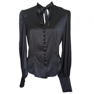 TOM FORD Black Silky Blouse with Bow Tie Neck