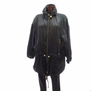MCM Black Silk Parka with Gold Zippers