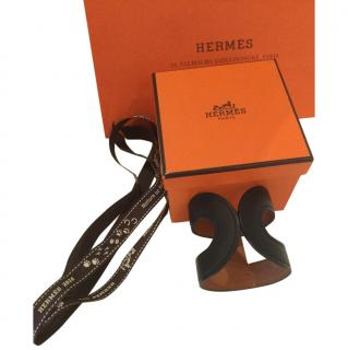 Hermes Black Leather Cuff Bracelet  - New With Box