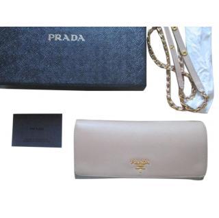 Prada Saffiano Wallet / clutch - cameo