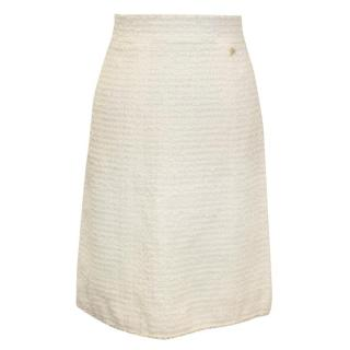 Chanel Cream Knit Skirt with Rope Hem
