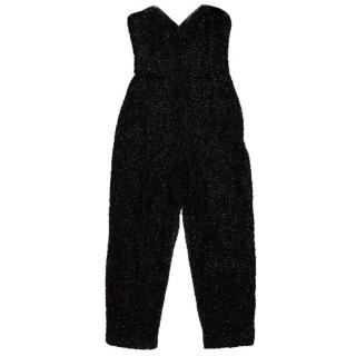 Beaded Black Strapless Jumpsuit