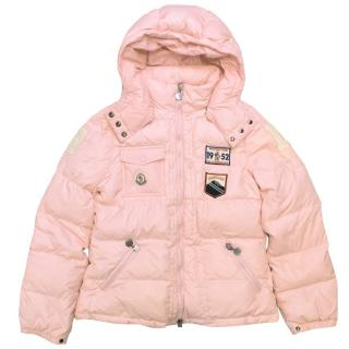 Moncler Girl's  Pink Hooded Puffer Jacket