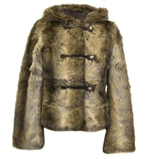 Juicy Couture Brown Faux Fur Coat