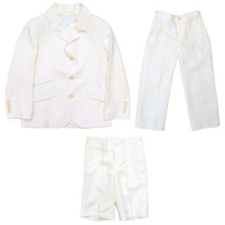 Marie Chantal cream linen blazer, shorts and trouser set