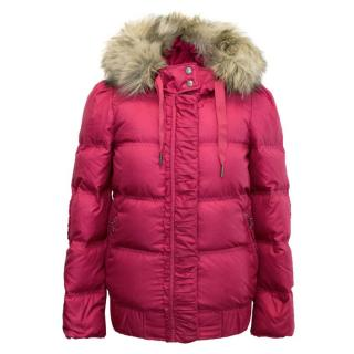 Juicy Couture Pink Hooded Puffer Jacket with Fur Hood
