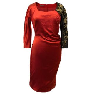 Alexander McQueen Red and Black Oriental Style Dress