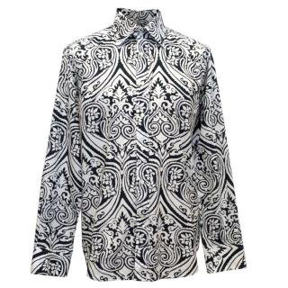Etro Mens Navy and White Pattern Shirt