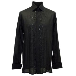 Richard James Mens Black Shirt with Beading Detail