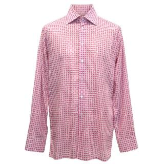 Richard James Mens Pink Dress Shirt with White Pattern