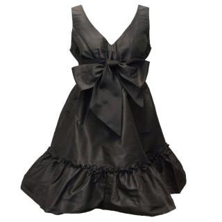 Asprey Black Silk Plunge Midi Dress