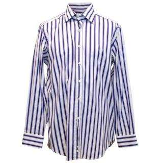 Etro White Mens Shirt with Thick Purple Stripes