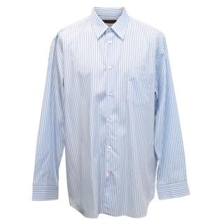 Comme des Garcons Mens Blue and White Striped Shirt