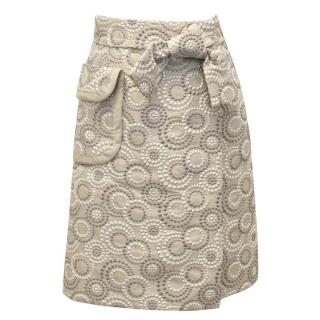 Marc Jacobs Cream Midi Skirt with Embroidery and Bow