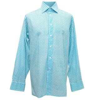 Richard James Blue Mens Dress Shirt with White Pattern