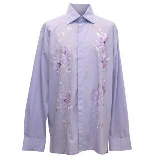 Richard James Mens Purple Floral Embroidered Dress Shirt