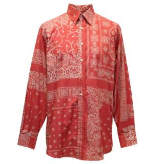 Etro Mens Red Shirt With White Floral Pattern