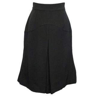 Prada Black Knee Length Skirt With Pleats