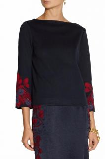 Tory Burch navy + red flower embellished jersey top