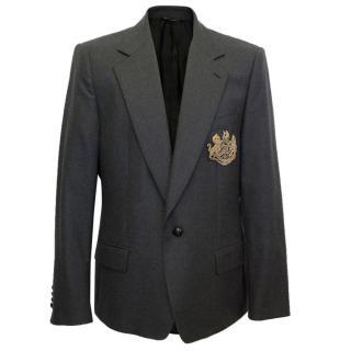 Dolce & Gabbana Mens Grey Jacket with Gold Emblem