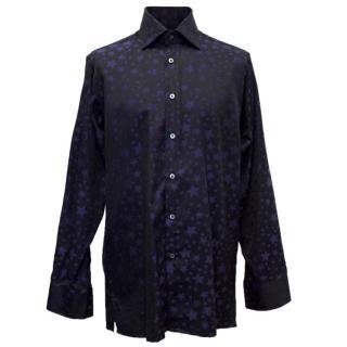 Richard James Mens Navy Shirt with Dark Blue Star Pattern