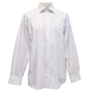 Etro Mens White Shirt with Multi Coloured Stripes