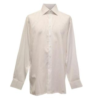 Richard James White Dress Shirt with Pink Polka Dots