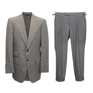 Tom Ford Grey, Black and White Checked Two Piece Suit