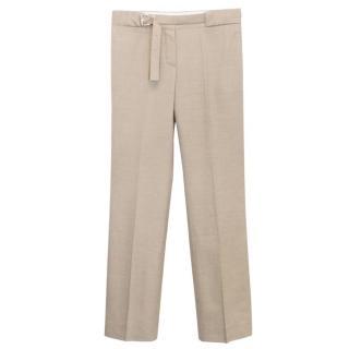 Chloe Sand Coloured Straight Leg Trousers