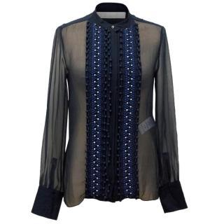 Chloe Silk Midnight Blue Beaded Shirt