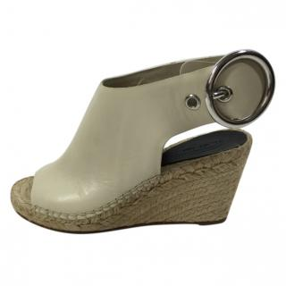 Celine Espadrille Wedge with Large Silver Buckle