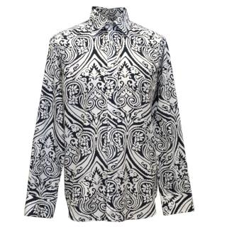 Etro Navy Blue And White Floral Patterned Shirt