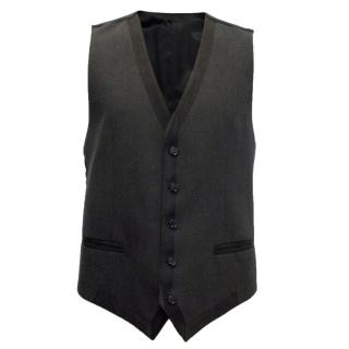 Dolce and Gabbana Black Wool Waistcoat with Silk Back