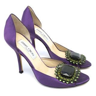 Jimmy Choo Kendal satin open toe d'Orsay heels