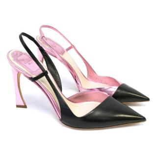 Christian Dior Black & Pink DEFILE Pointy Slingback Shoes