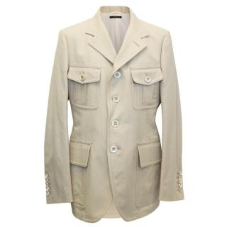 Tom Ford Beige Cotton and Linen Blend Jacket