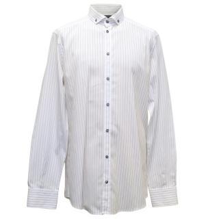 Dolce & Gabbana White And Black Pinstripe Shirt