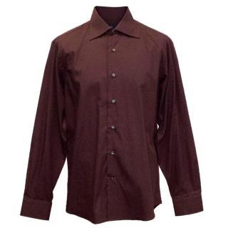 Etro Maroon Dress Shirt with Cut Away Collar