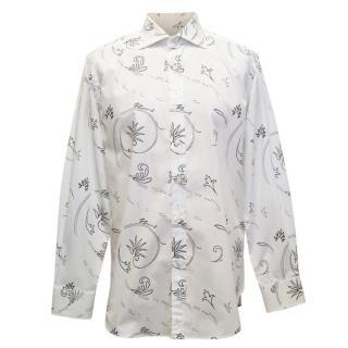 Etro White and Black Leaf Pattern Shirt