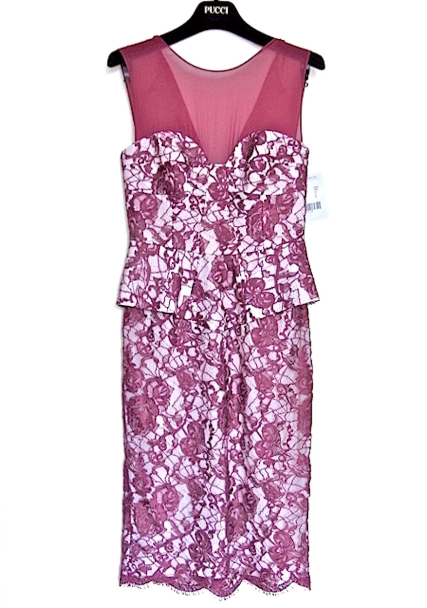 NEW EMILIO PUCCI Lace Overlay Peplum Dress